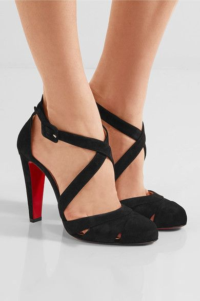 Heel measures approximately 100mm/ 4 inches Black suede Buckle-fastening ankle strap Made in Italy