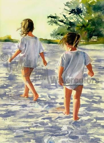 Sisters Friends Girls Hike Beach Seashore by steinwatercolors