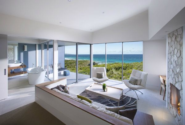 Southern Ocean Lodge - each of the suites are designed so you can lie in bed and see the sea. Some feature a sunken lounge and hand cut limestone fireplace.