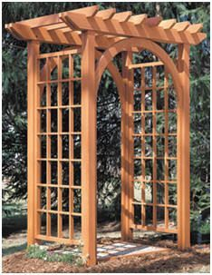 PlansNow.com has inexpensive, instant-download, DIY plans for wooden arbors and trellises.