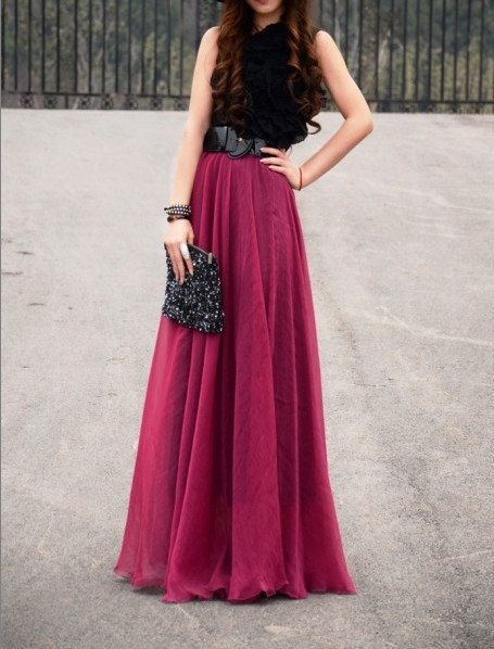 women's wine red silk Chiffon 8 meters of skirt circumference long dress maxi skirt maxi dress  XS-L. $35.99, via Etsy.