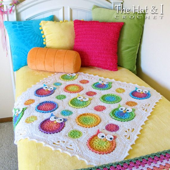 CROCHET PATTERN Owl Obsession a colorful owl afghan