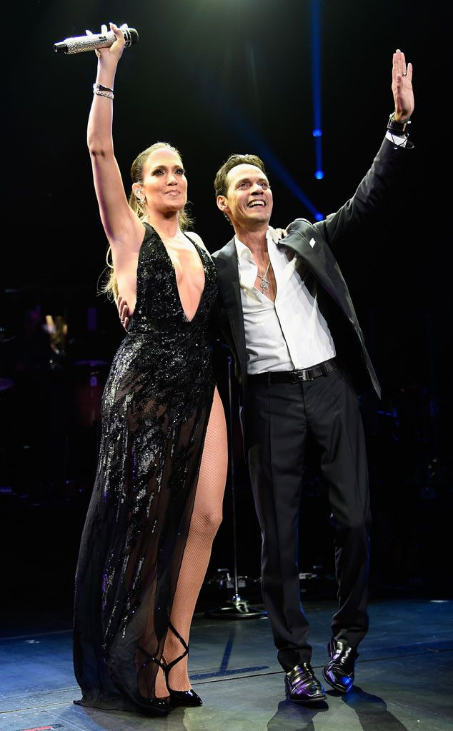 Jennifer Lopez, Marc Anthony perform onstage at Radio City Music Hall in New York City.