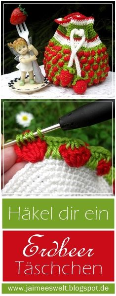 Dieses kleine Häkeltäschchen entstand mit dem Erdbeerstich * This little crochet bag was made with the strawberry stich