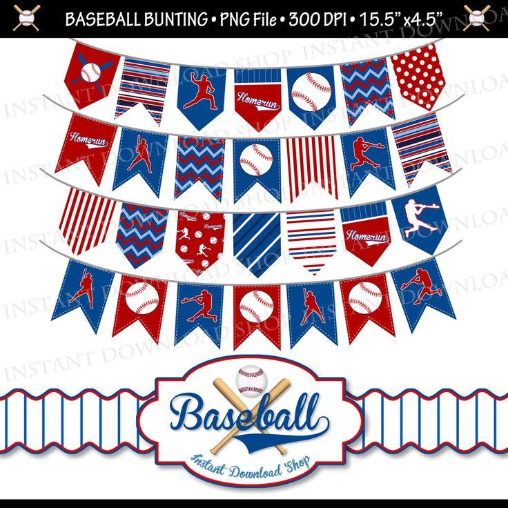 INSTANT DOWNLOAD Baseball Pennants Baseball by InstantDownloadShop