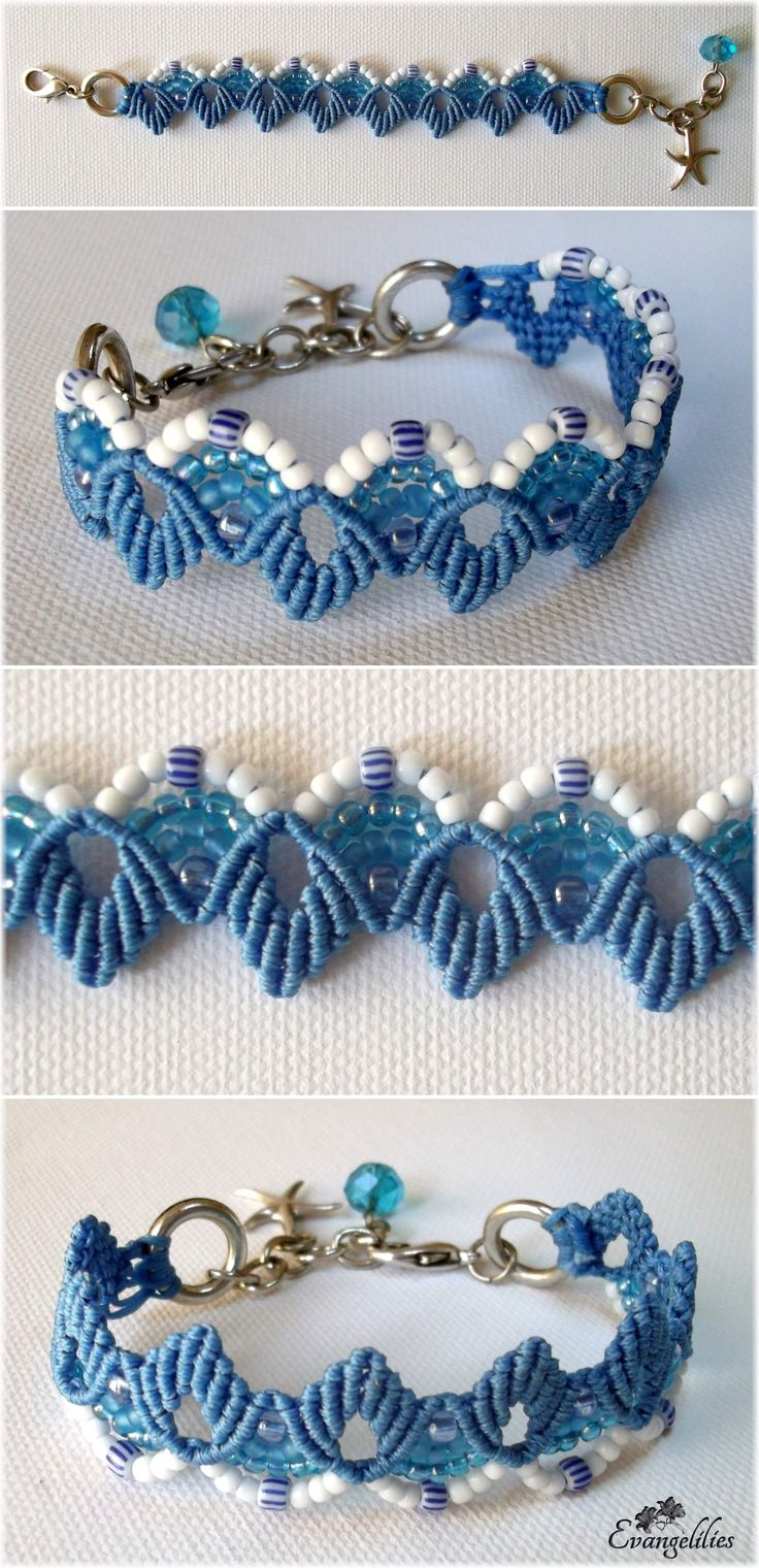 Beaded macrame bracelet with little knotted leaves in the colors of the sea and the waves. The design by Macrame School video tutorial here: https://www.youtube.com/watch?v=52dQHRMm_Zc and the inspiration with the beads from here: http://macramedamare.blogspot.gr/2010/10/progetto-del-mercoledi.html