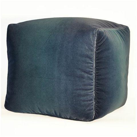 Luxe Velvet Pouf Ottoman- Dusk Grey & Blue Ombre | Scenario Home