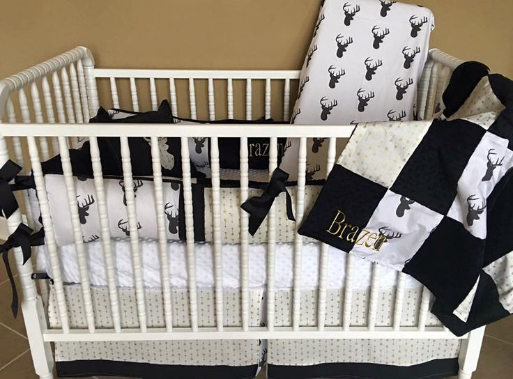custom baby bedding 6 pc set woodland deer forest lodge black deer