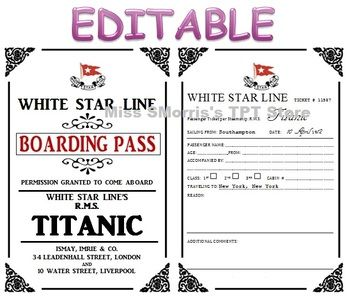 To celebrate the Titanic's Launch Day Anniversary I give you the Editable Titanic Passenger Tickets! For sale in my TPT store for $7!