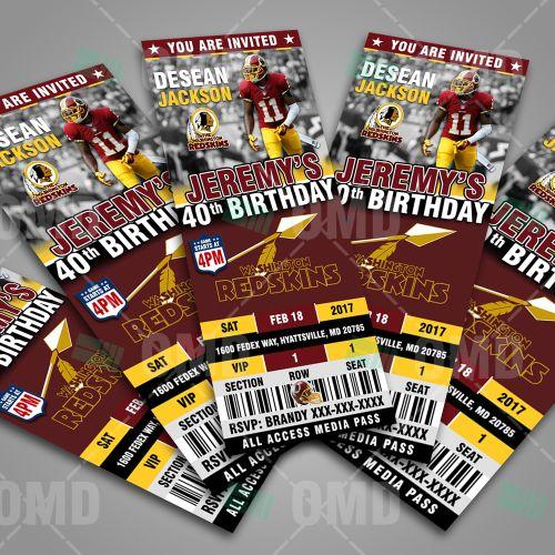 Washington Redskins Ticket Style Sports Party Invites #sportinvites