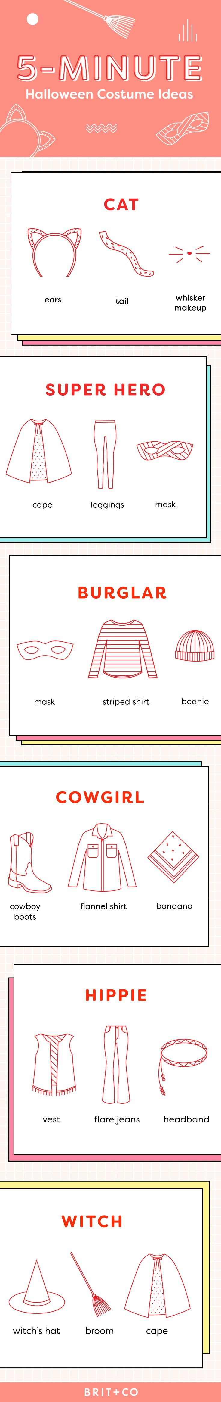 Bookmark this last-minute infographic for 5-minute Halloween costume ideas like a cat, a super hero, a burglar, a cowgirl, a hippie, and a witch.