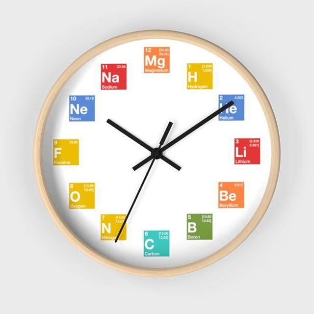 Now available in our shop! Link in bio. A wall clock with elements from the periodic table for hours. It doesnt get much geekier than this. Count the elements hydrogen after hydrogen.  #periodictable #element #periodically #chemistry #physics #science #nerdy #geeky #staynerdy #chemist #chemistrylover #chemistrylove #scientist