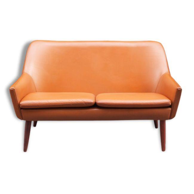 Canapé 2 places cuir et teck