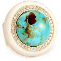 ANDARA Magnesite Turquoise Gumball Ring, Size 6   #ANDARA