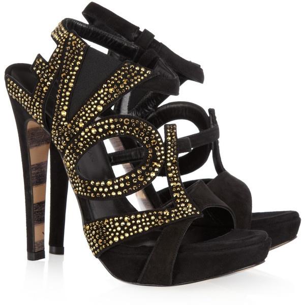 Georgina Goodman Lena Crystal-Embellished Suede Sandals, found on polyvore.com