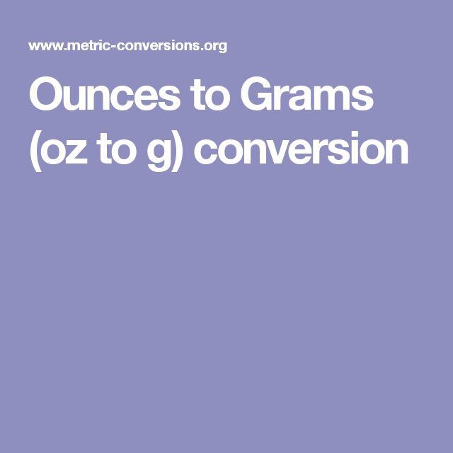 Ounces to Grams (oz to g) conversion