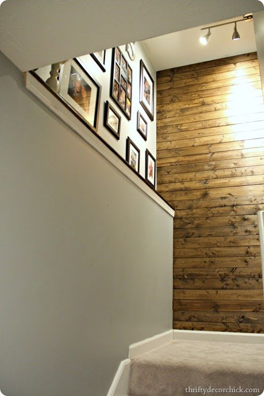 wood planked staircase wall | For the Home | Pinterest ...