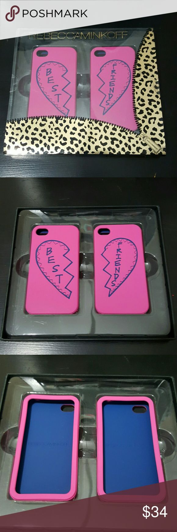 NWT Rebecca Minkoff iPhone 4 Best Friend Cases This is a set of iPhone cases from Rebecca Minkoff. Colors are bright pink and blue. Box has been opened, but cases have not need used. Also available in black & white and yellow & turquoise.  No trades. Rebecca Minkoff Accessories Phone Cases