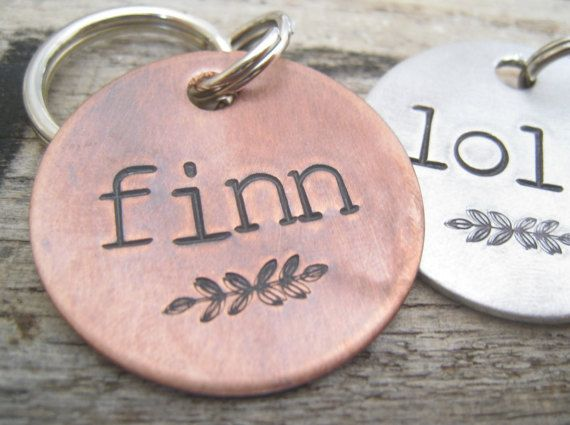 Hand Stamped Pet ID Tag Personalized Pet/Dog by TheWoodenWillow