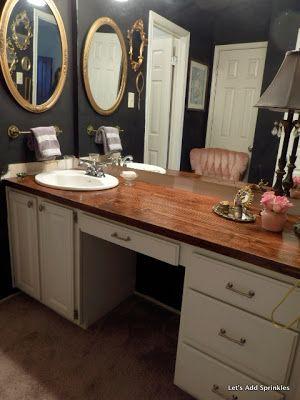 Let's Add Sprinkles: Wooden Bathroom Countertop