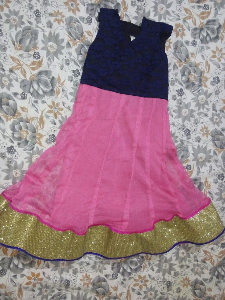 Back side: Blue and pink anarkali frock for children