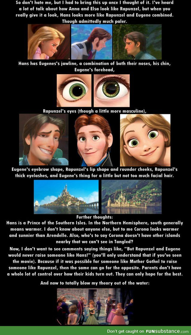 i don  39 t think so Hans  39 s hair is red even though rupunzel  39 s hair is naturally brown I don  39 t think that you can get red out of that  And Eugene and Rapunzel aren  39 t depicted as old enough to have had 13 kids