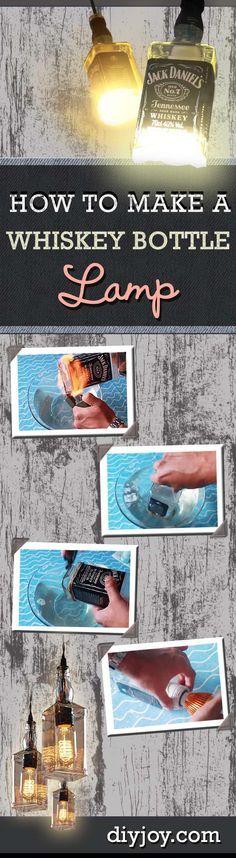 DIY Lighting Ideas with Cut Bottles - How to Make a Liquor Bottle Lamp for Cheap Home Decor Idea