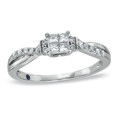 Cherished Promise Collection™ 1/4 CT. T.W. Princess-Cut Quad Diamond Wave Promise Ring in 10K White Gold