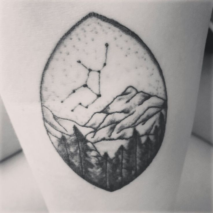Virgo zodiac tattoo - mountains - stars - trees - earth ...