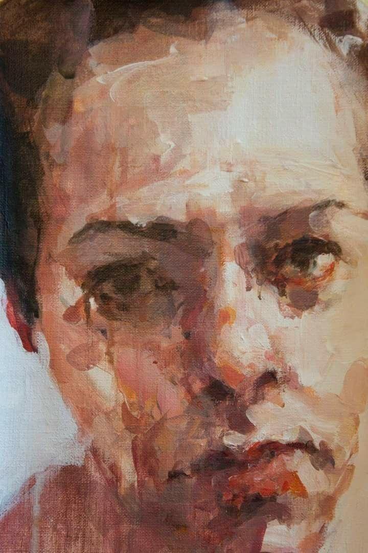 Jantien de Boer, The face, 2016,  oil on board, 40 x 20 cm.