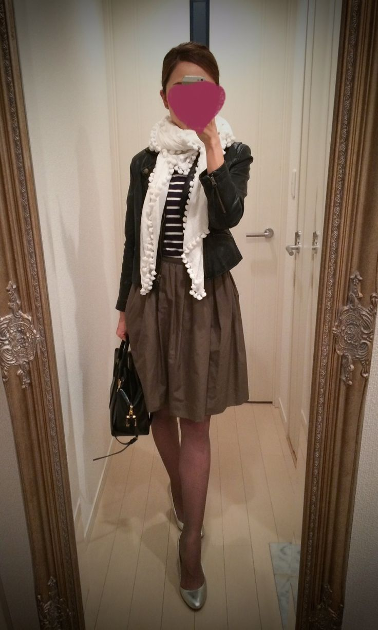 Striped blouse with brown skirt + black jacket + white scarf + black bag + silver pumps - http://ameblo.jp/nyprtkifml