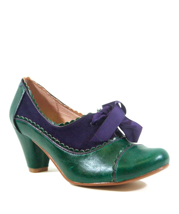 green and blue, ribbon tied retro shoes.