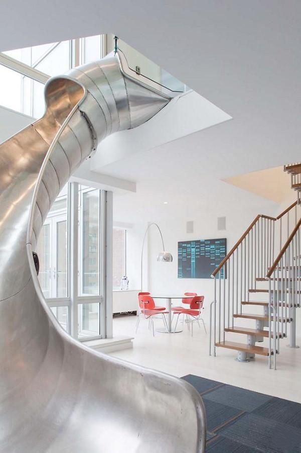 SERIOUSLY? BOTH MY KIDS WOULD PEE THEIR PANTS WITH EXCITEMENT East Village Penthouse Metal Slide, Remodelista