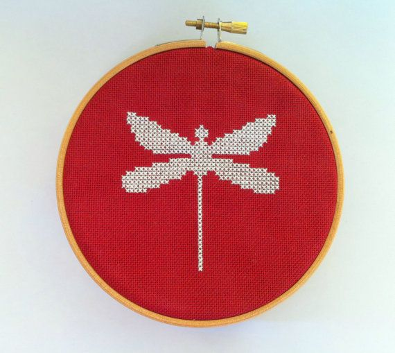 Embroidery hoop wall art - Dragonfly embroidered  - Modern cross stitch