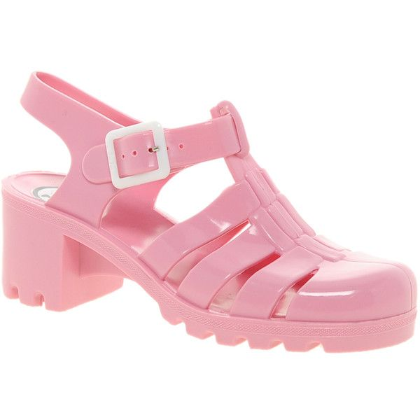 Juju Babe Pale Pink Heeled Sandals ($38) ❤ liked on Polyvore featuring shoes, sandals, pale pink, t strap sandals, block heel sandals, jelly shoes, chunky sandals and chunky heel sandals