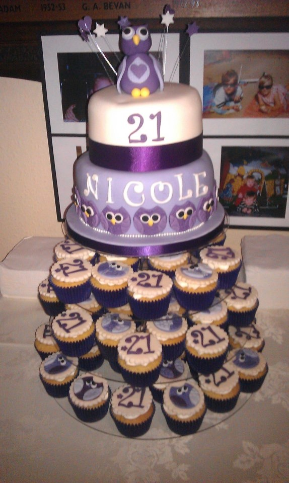 Purple owl 21st Birthday cake Owls Pinterest ...