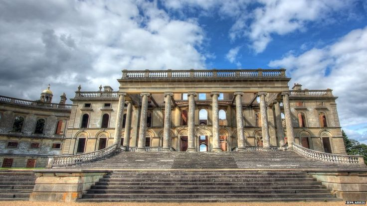 Witley Court in Worcestershire. The South Portico of Witley Court, eight columns wide and two columns deep