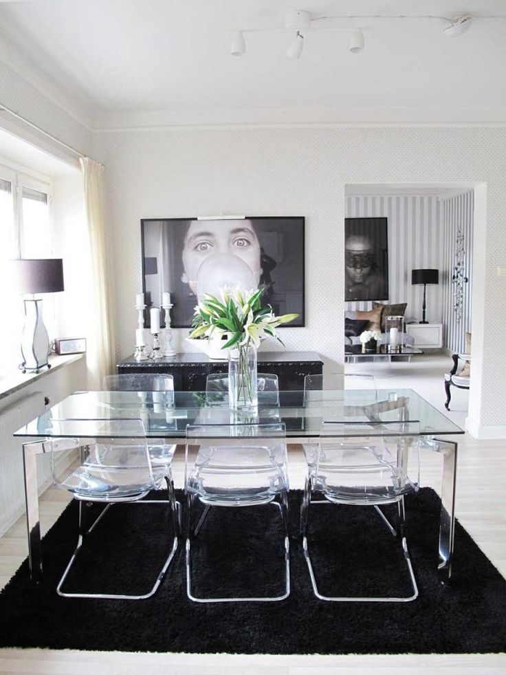 Contemporary Dining Room Design Idea: Glass Dining Table And Acrylic Chairs  With Black U0026 White Design Elements