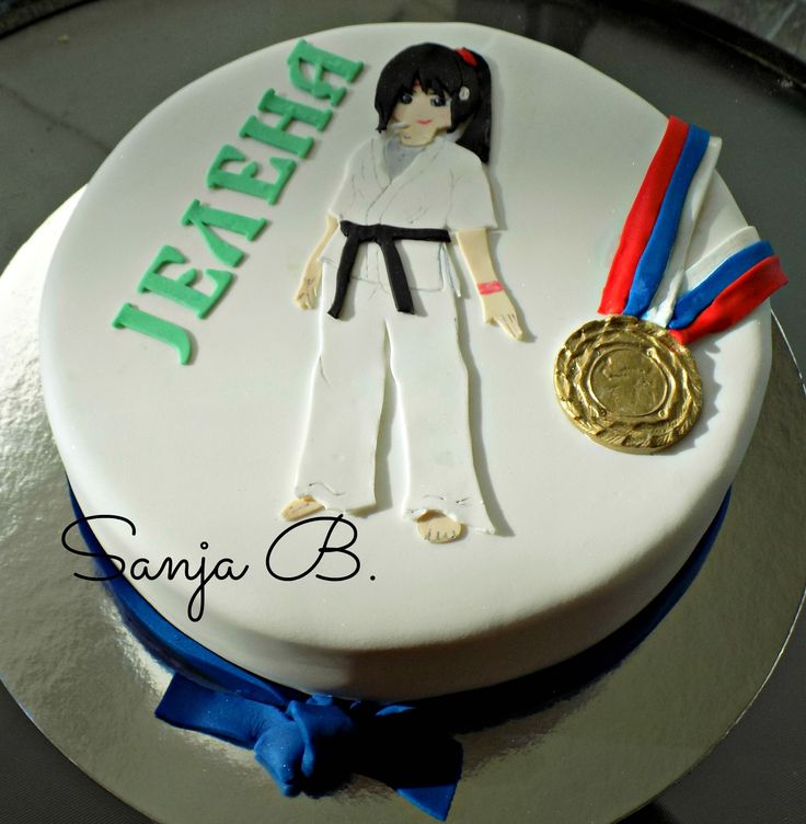 golden karate girl cake