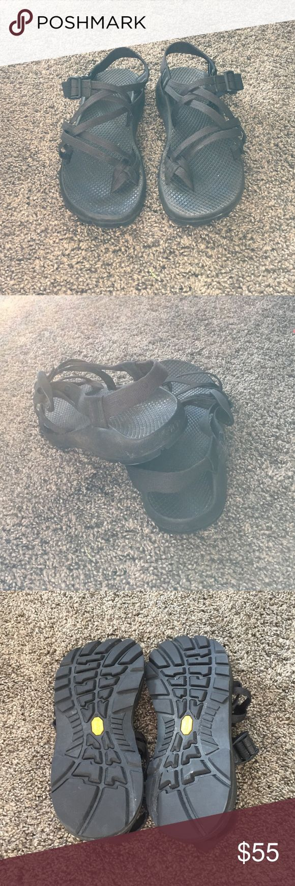 Chacos double strap They are a little dirty, but in awesome condition. I've only used them a few times! Black double strap chacos are some of the most wanted on Posh! They match with everything and the double strap gives them a feminine style. Chacos Shoes Sandals