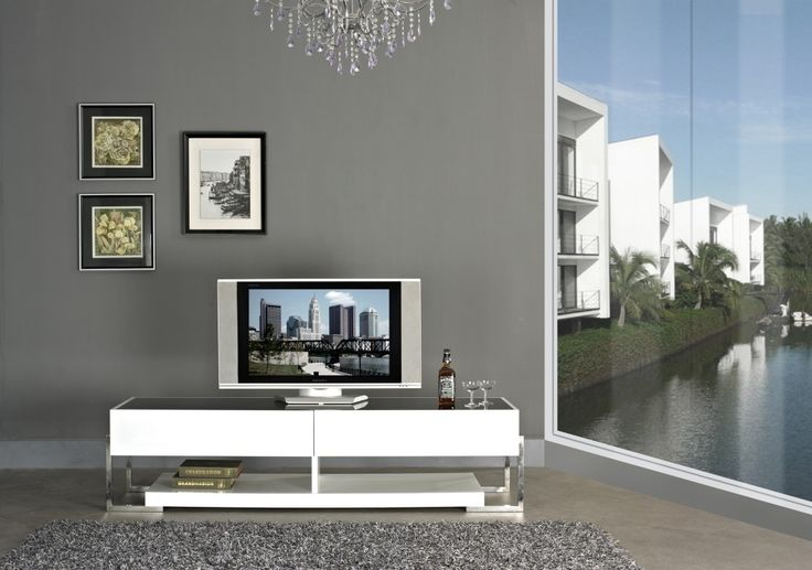 Modern High Gloss TV Stand Furniture In White   $$1,320    Features:  Rectangular