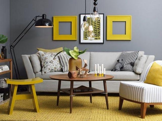 Cadres jaune moutarde pour une déco actuelle que j'aime bien au regard de l'accord gris/jaune moutarde ♥