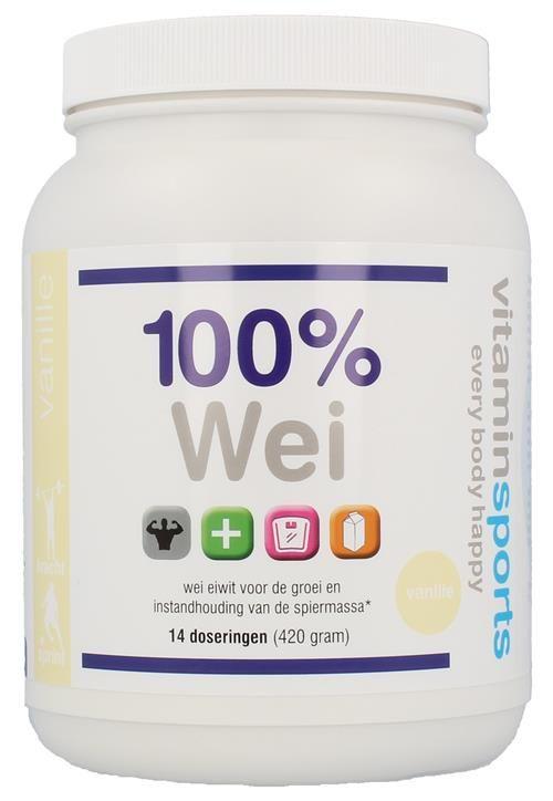 Description: Wei eiwit voor de groei en instandhouding van de spiermassa. De eiwitten in deze formule zijn afkomstig uit weiproteïne concentraat hydrolysaat en isolaat. De 100% Wei Formule is verkrijgbaar in de smaken aardbei vanille chocolade en banaan en in een verpakking van 420 (14 porties) 900 (30 porties) of 2010 gram (67 porties). De 100% Wei Formule bevat per portie van 28 gram 217 gram eiwit (87%) 24 gram suikers en 12 gram vet. Vergeleken bij de Wei Isolaat is de hoeveelheid…