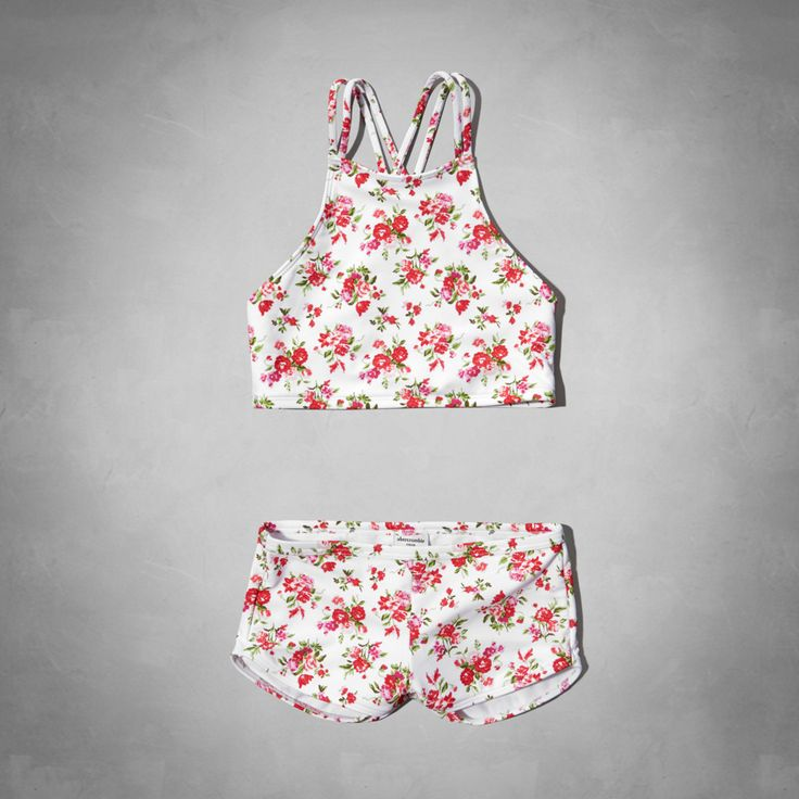 girls floral high neckline two-piece swimsuit | girls new arrivals | abercrombiekids.com