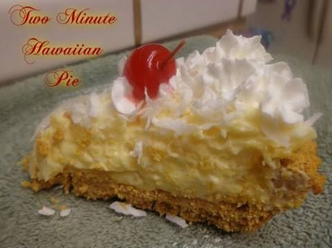 "TWO MINUTE HAWAIIAN PIE... Ingredients: 1 (20oz) can crushed pineapple ""UNDRAINED"" 2 boxes instant Jello coconut pudding mix (these only come in small boxes). You can substitute 1 large 6 serving s..."