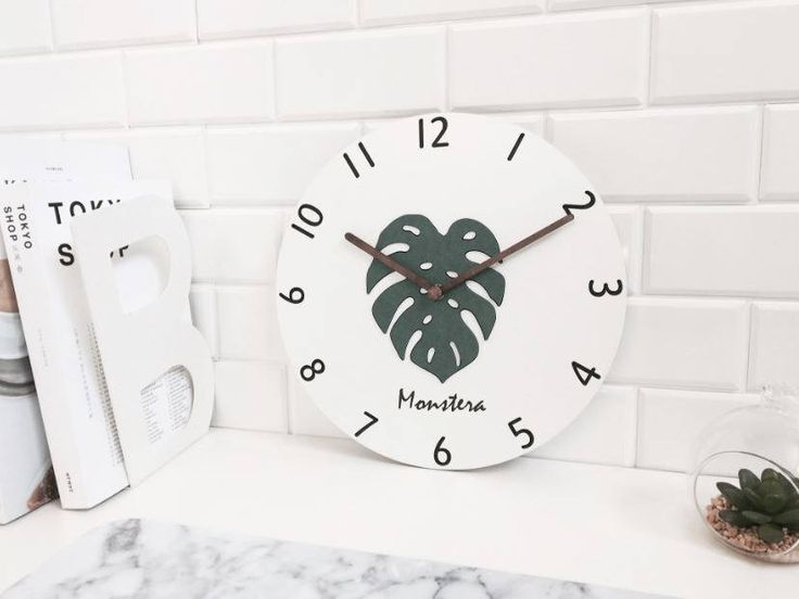 monstera clock/cactus clock/botanical clock/herb clock/minimal clock/modern clock/wooden minimal decor clock/Scandinavian clock/monstera art by BeautyOfPrints on Etsy