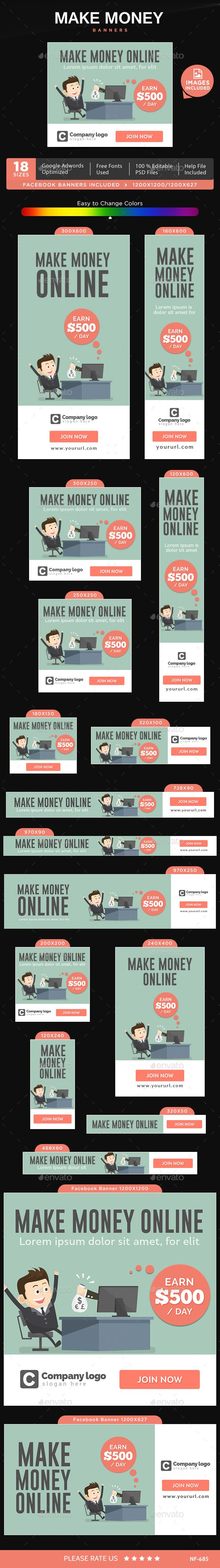 Make Money Web Banners Template #design #ad Download: http://graphicriver.net/item/make-money-banners/13110266?ref=ksioks
