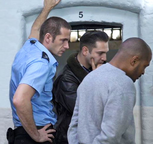 Behind the set, Screwed --- anyone venture a guess what James, Noel Clarke and director, Reg Traviss are mulling about?