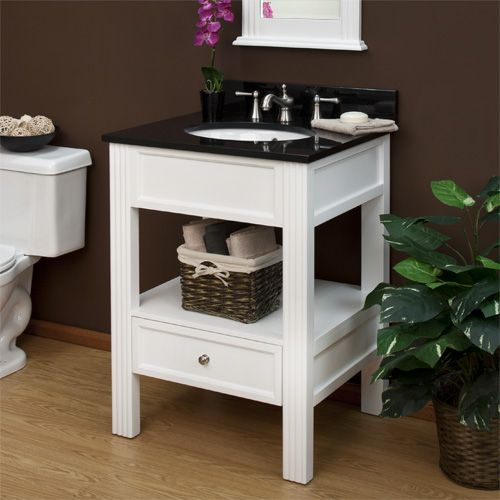 24 milforde collection console vanity cabinet with for Marble top console sink