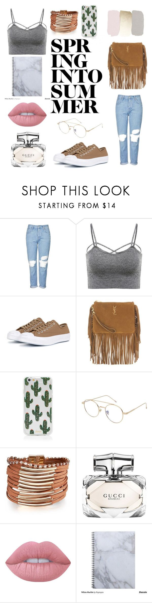 """""""Untitled #4"""" by plntx ❤ liked on Polyvore featuring Topshop, Converse, Yves Saint Laurent, Sonix, MANGO, Gucci and Lime Crime"""